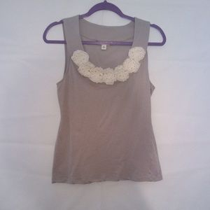 Banana Republic Grey And White Floral Crochet Tank
